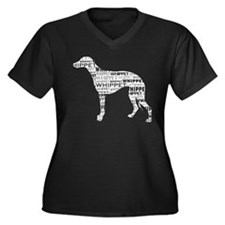 Whippet Silh Women's Plus Size V-Neck Dark T-Shirt