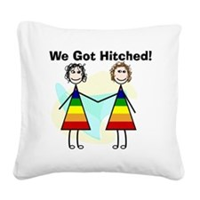 We got hitched LARGE Square Canvas Pillow