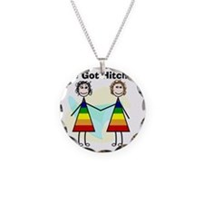 We got hitched LARGE Necklace Circle Charm