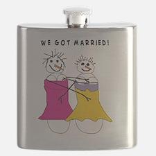we got married Vertical Flask