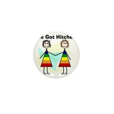 We got hitched LARGE Mini Button
