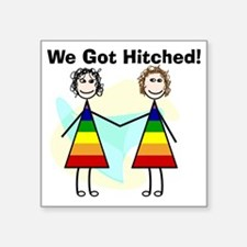 "We got hitched LARGE Square Sticker 3"" x 3"""