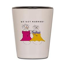 we got married Shot Glass