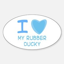 Blue I Heart (Love) My Rubber Ducky Oval Decal