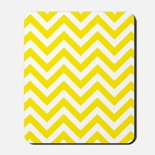 Yellow and White chevrons 5 Mousepad