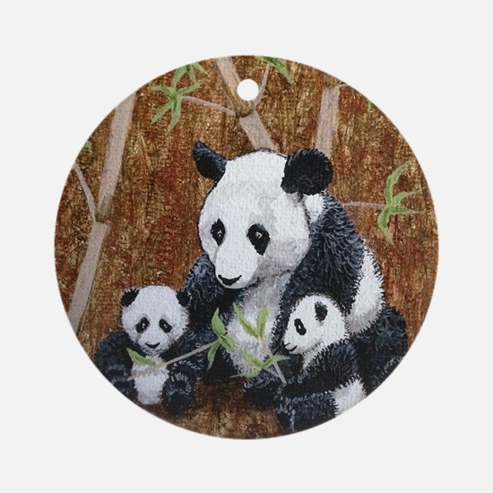 StephanieAM Panda and Cubs Ornament (Round)