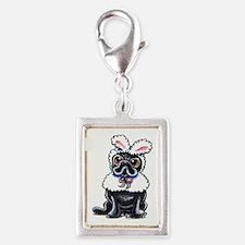 Grumpy Pug Bunny Silver Portrait Charm