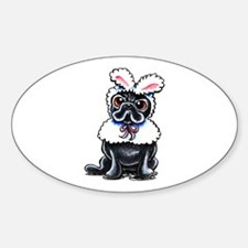 Grumpy Pug Bunny Sticker (Oval)