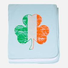 Vintage Irish Flag Shamrock baby blanket