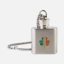 Vintage Irish Flag Shamrock Flask Necklace