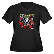 Avengers Gro Women's Plus Size V-Neck Dark T-Shirt