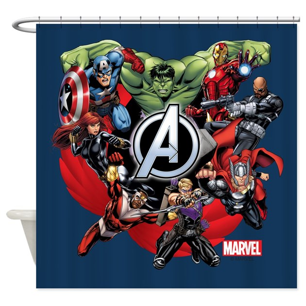 Avengers group shower curtain by theavengers - Marvel superhero bathroom accessories ...