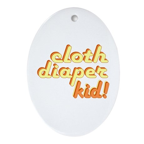 Cloth Diaper Kid Oval Ornament