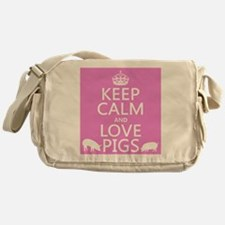 Keep Calm and Love Pigs Messenger Bag