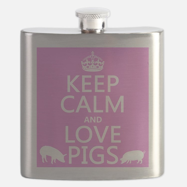 Keep Calm and Love Pigs Flask