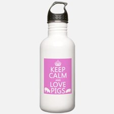 Keep Calm and Love Pigs Sports Water Bottle