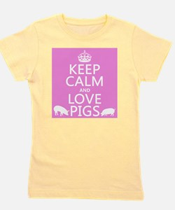 Keep Calm and Love Pigs Girl's Tee