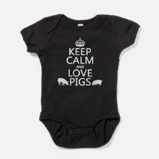 Keep Calm and Love Pigs Baby Bodysuit