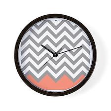 Grey and Coral Chevrons Wall Clock
