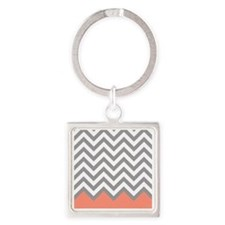 Grey and Coral Chevrons Square Keychain