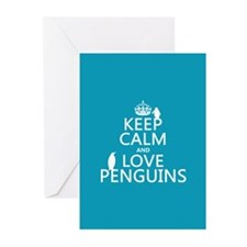Keep Calm and Love Penguins Greeting Cards