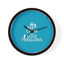 Keep Calm and Love Penguins Wall Clock