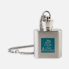 Keep Calm and Love Penguins Flask Necklace