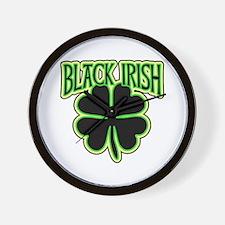 Black Irish with Huge Shamrock Wall Clock