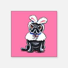 Grumpy Pug Bunny Pink Sticker