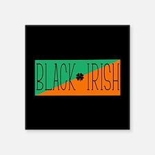 "Black Irish Green and Orange Square Sticker 3"" x 3"