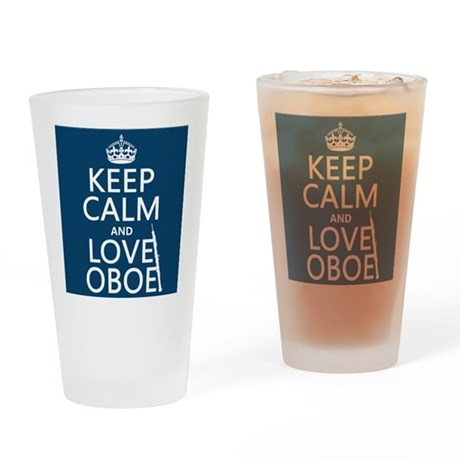 Keep Calm and Love Oboe Drinking Glass