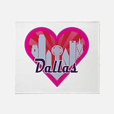 Dallas Skyline Sunburst Heart Throw Blanket