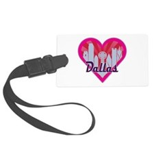 Dallas Skyline Sunburst Heart Luggage Tag