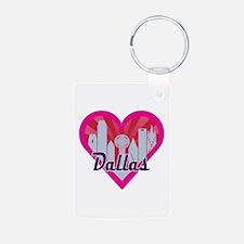 Dallas Skyline Sunburst Heart Keychains