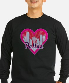 Dallas Skyline Sunburst Heart Long Sleeve T-Shirt