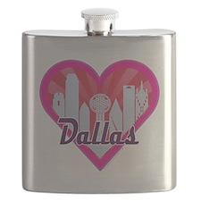 Dallas Skyline Sunburst Heart Flask