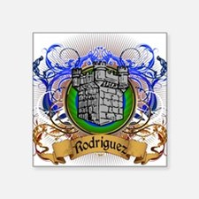 "Rodriguez Family Crest Square Sticker 3"" x 3"""