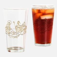 Gold Nativity Illustration Drinking Glass