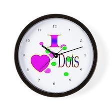 I Love Dots Wall Clock