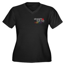 Straight but Not Narrow Plus V-Neck Dark Shirt