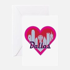 Dallas Skyline Heart Greeting Cards