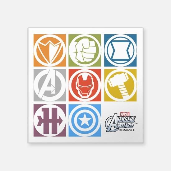 "Avengers Squares Square Sticker 3"" x 3"""