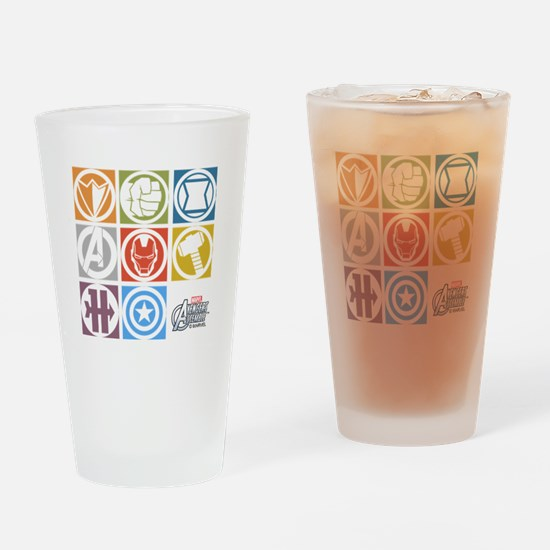 Avengers Squares Drinking Glass