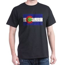 Colorado State Flag Marijuana Pot Weed Leaf T-Shirt