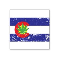 Colorado State Flag Marijuana Pot Weed Leaf Square