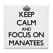 Keep calm and focus on Manatees Tile Coaster