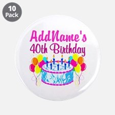"40TH PARTY 3.5"" Button (10 pack)"