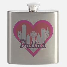 Dallas Skyline Heart Flask