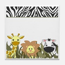 Cute Jungle Safari Animals Tile Coaster