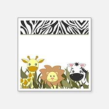 """Cute Jungle Safari Animals Square Sticker 3"""" x 3"""""""
